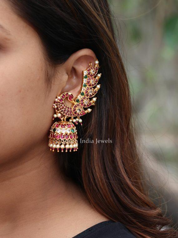 Elegant Peacock Designer Ear Cuff Jhumkas