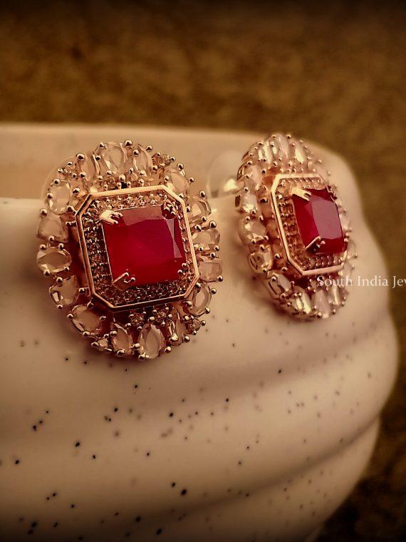 Elegant Rose Gold Ruby Stone Earrings