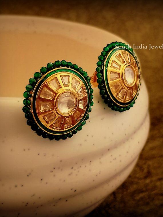 Elegant Uncut Stone Green Meena Earrings