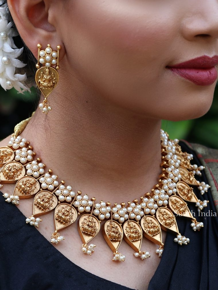 Elegant White Pearl Lakshmi Drop Necklace-01