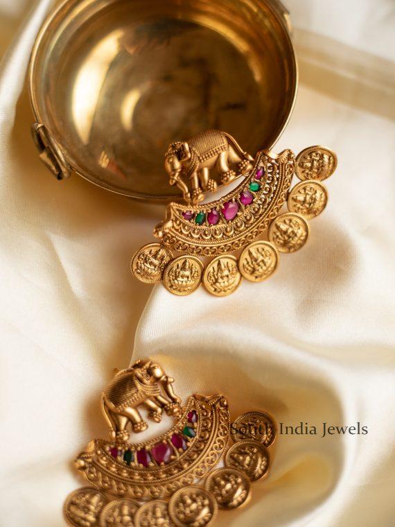 Elephant Design Lakshmi Coin Earrings