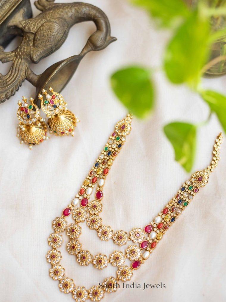 Exquisite Three Layer Navaratna Necklace