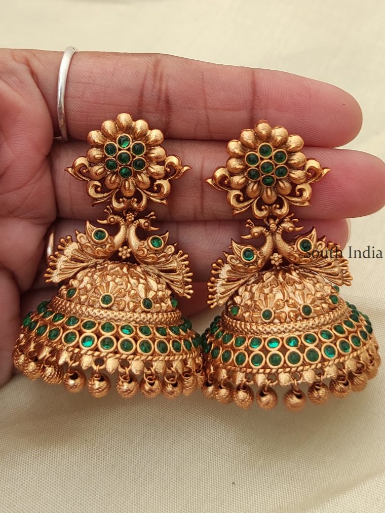 Flower Design Green Stone Jhumka-01