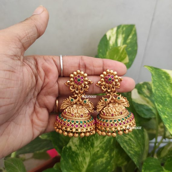 Flower Design Red & Green Stone Jhumka-02