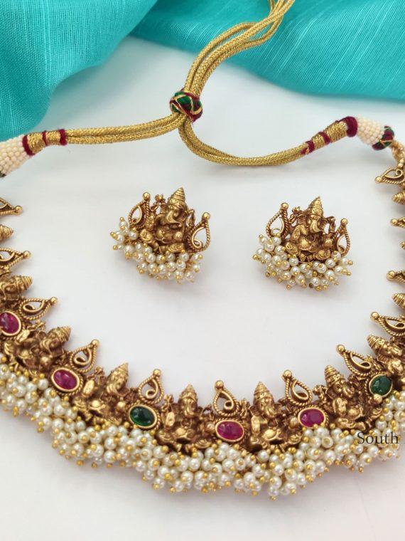 Ganesha Design Pearl Cluster Necklace