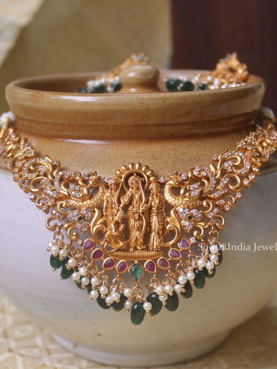Grand Emerald Ram Parivar Necklace