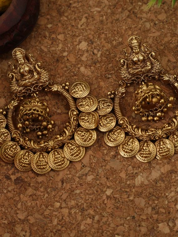 Grand Lakshmi Coin Chandbali Earrings
