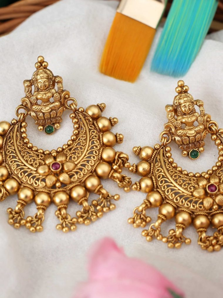 Grand Lakshmi Design Chandbali Earrings