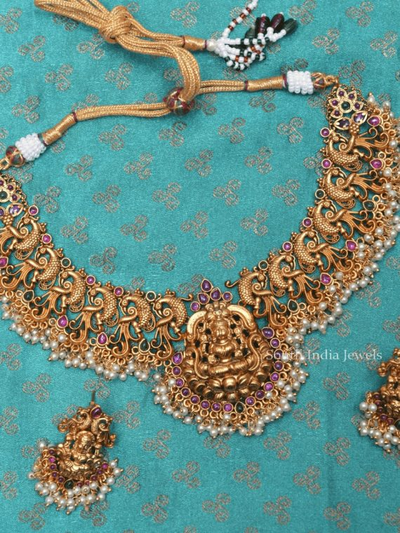 Grand Lakshmi and Peacock Necklace