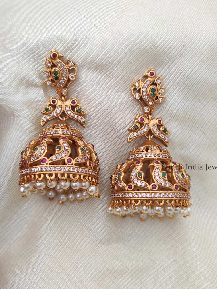 Grand Matte Finish Bird Design Jhumkas-01