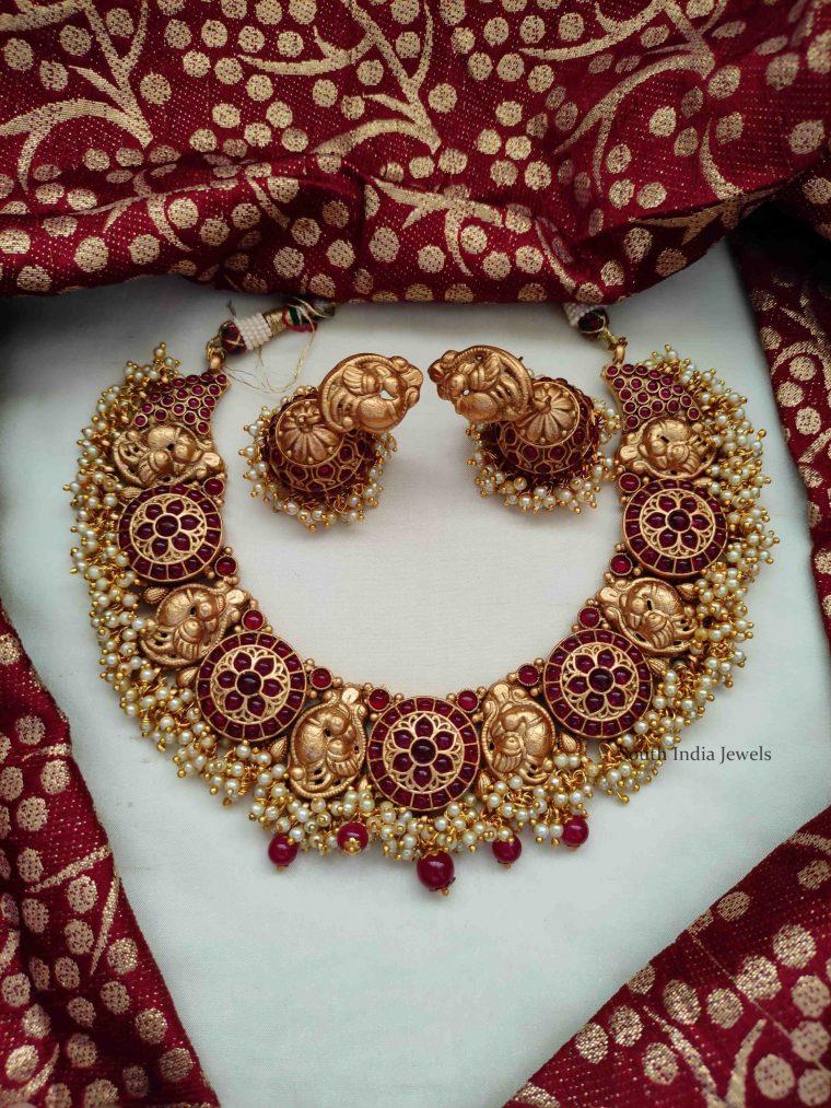 Grand Peacock Design Guttapusalu Necklace