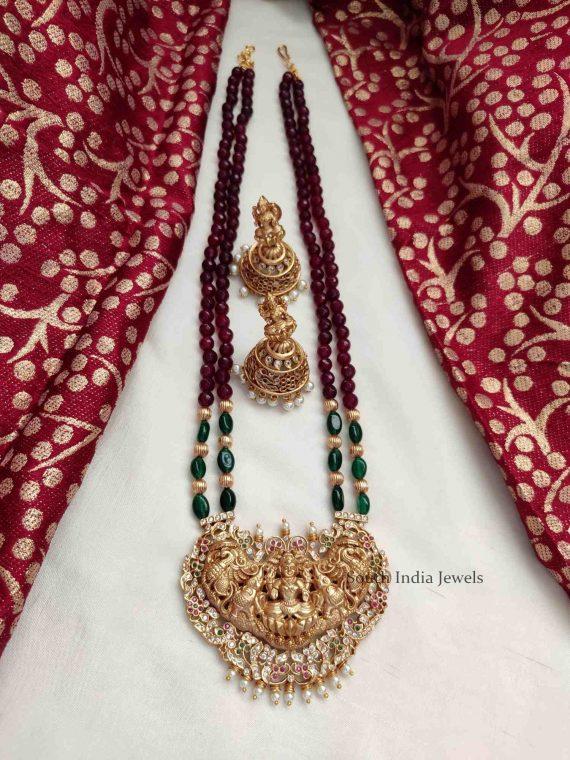 Grand Red & Green Beads Lakshmi Pendant Haram