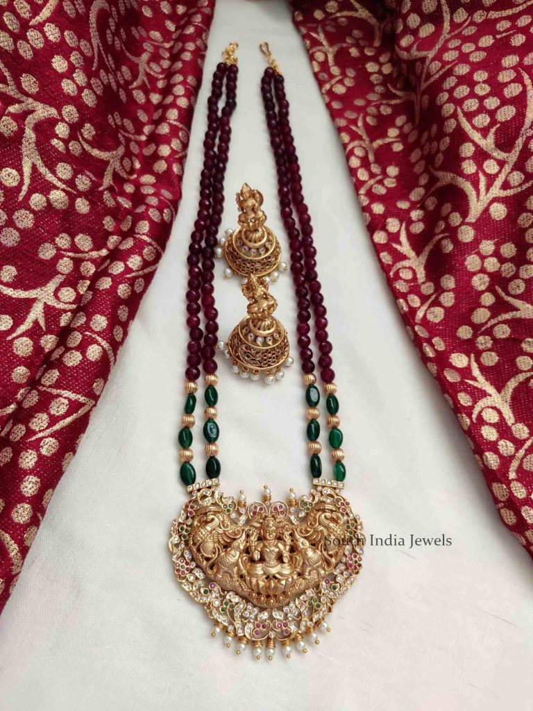 Grand Red & Green Beads Lakshmi Pendant Haram