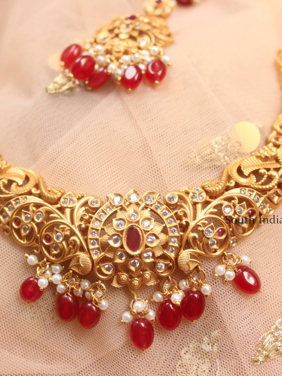 Grand Ruby Beads Matte Finish Necklace