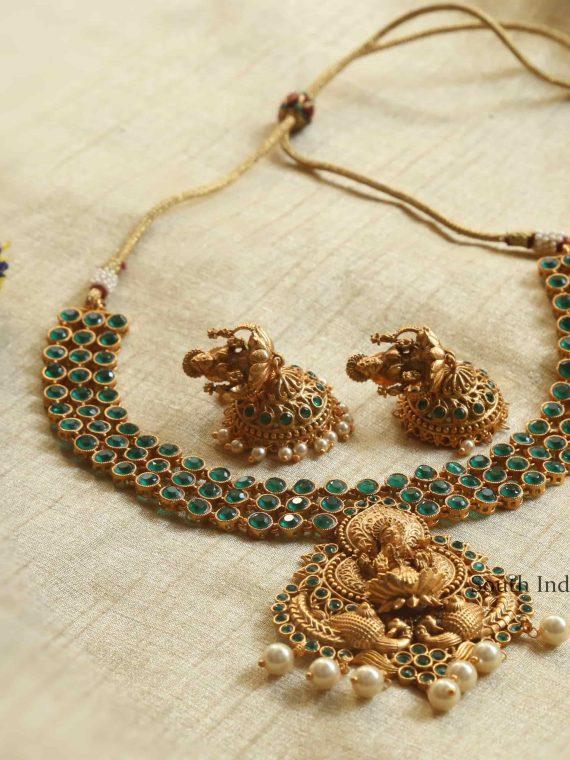 Green Stone Matte Lakshmi Necklace with Jhumkas-01