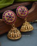 Imitation Lakshmi Coin Kemp Stone Necklace