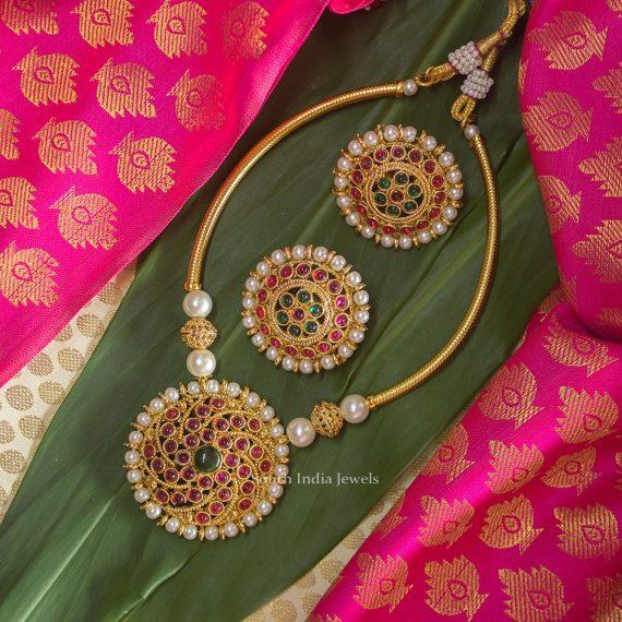 Imitation Pipe Kemp Stone Pearl Necklace