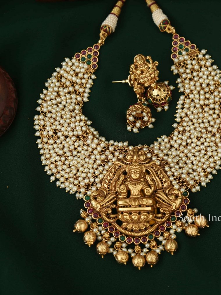 Imitation Ruby Stone Pearl Lakshmi Necklace-04