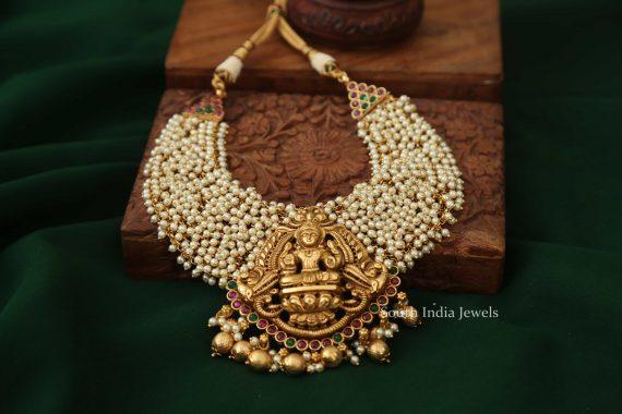 Imitation Ruby Stone Pearl Lakshmi Necklace-05
