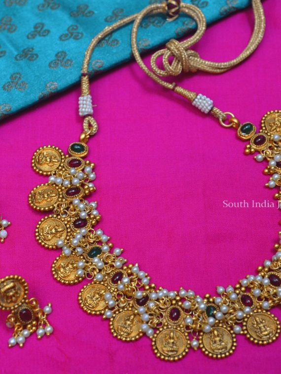 Lakshmi Coin Red & Green Stone Necklace