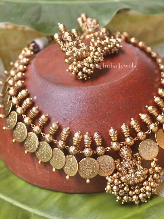 Lakshmi Coin with Golden Beads Necklace