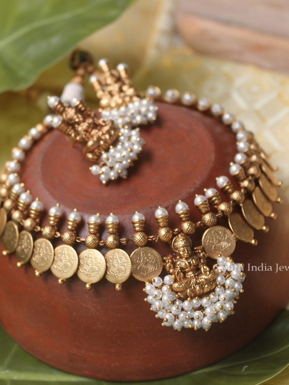 Lakshmi Coin with Pearl Beads Necklace