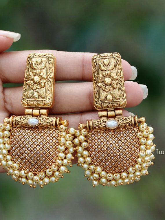 Matte Finish Pearl Cluster Earrings