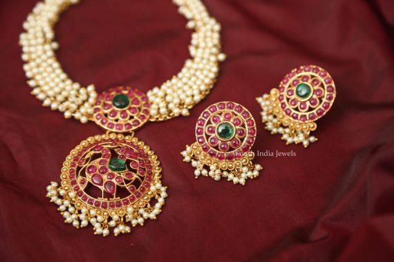 Peacock Design Kemp Stone & Pearl Necklace