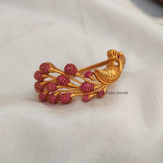 Peacock Design Ruby Stone Bracelet Bangle