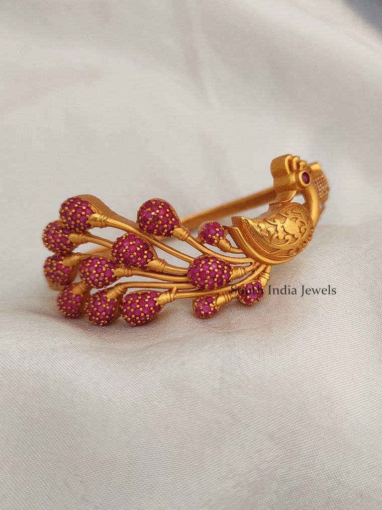 Peacock Design Ruby Stone Bracelet Bangle
