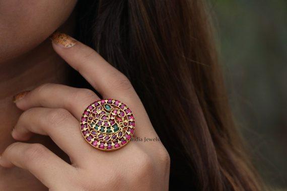 Peacock Design Statement Finger Ring