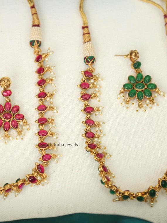 Reversible Pink & Green Stone Necklace