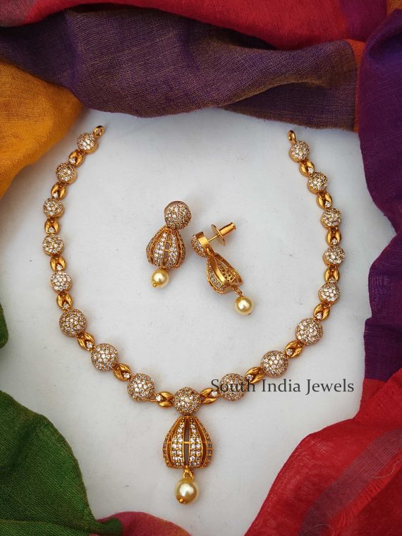 Simple CZ Stone Necklace with Half Jhumka