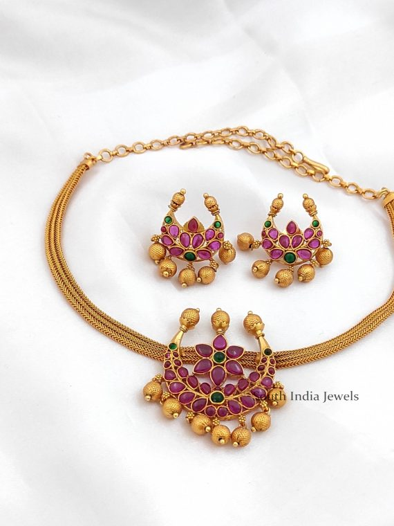 Simple Chandbali Pendant Choker