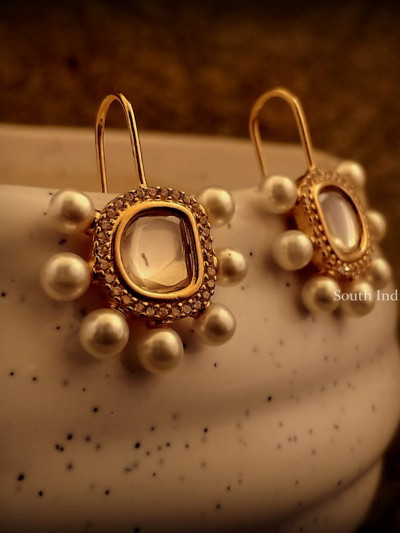 Simple Gold Plated Uncut Hoops Earrings