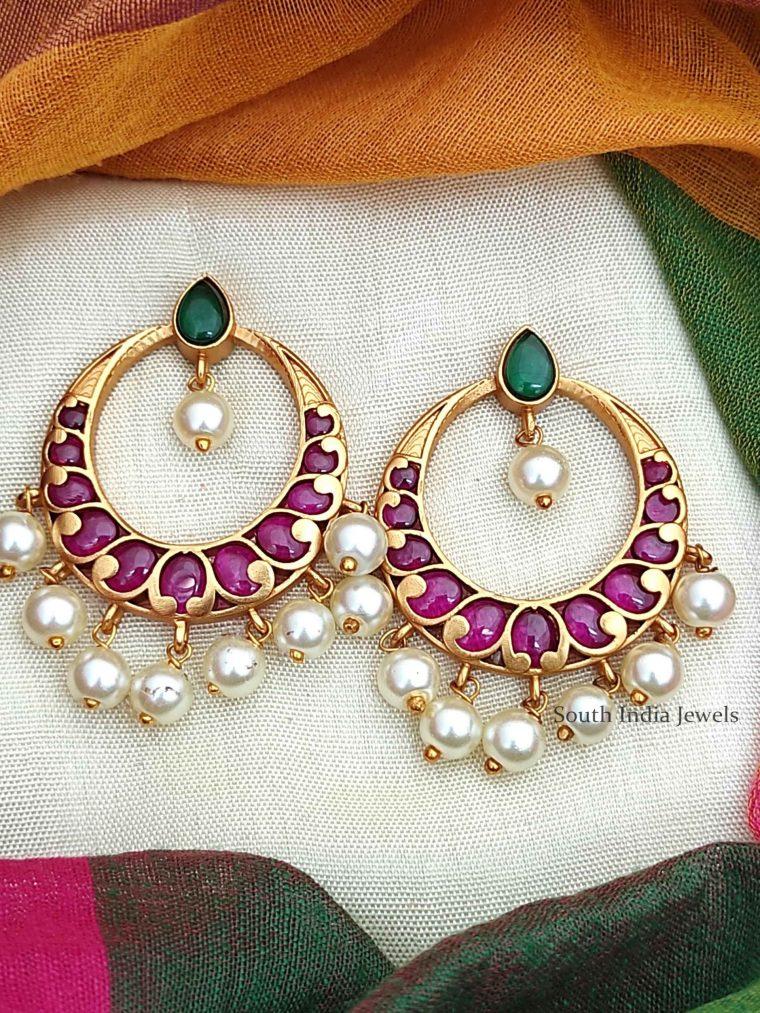 Simple Kemp & Green Chandbali Earrings