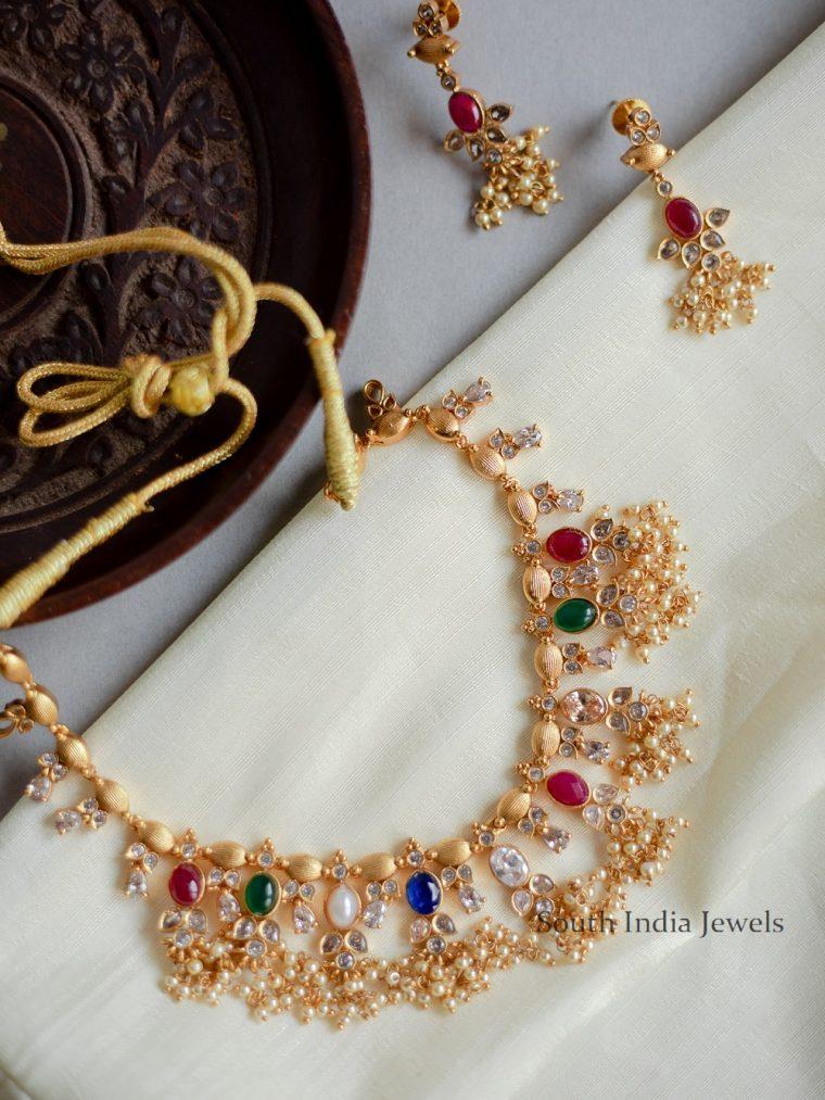 Simple Navarathna Studded Guttapusalu Necklace-01