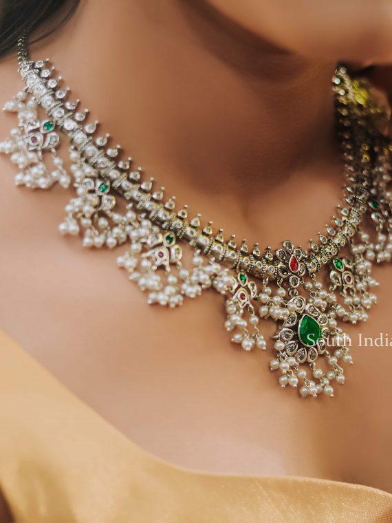 Sparkling Premium Silver Matte Guttapusalu Necklace-01