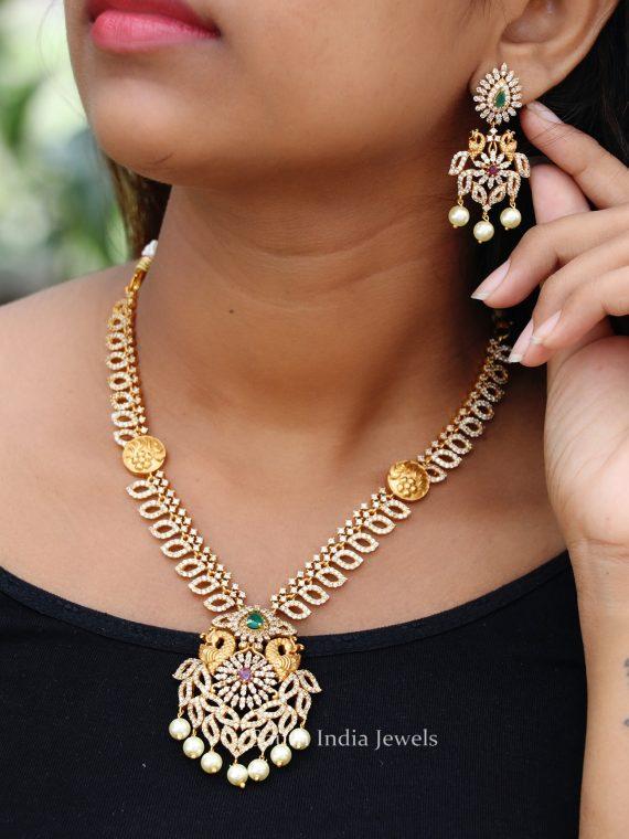 Stunning AD Stone Peacock Designer Necklace