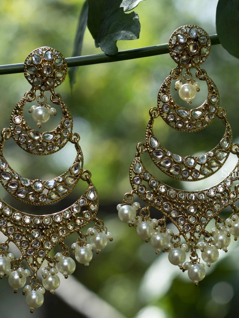 Stunning Kundan Chandbali Earrings