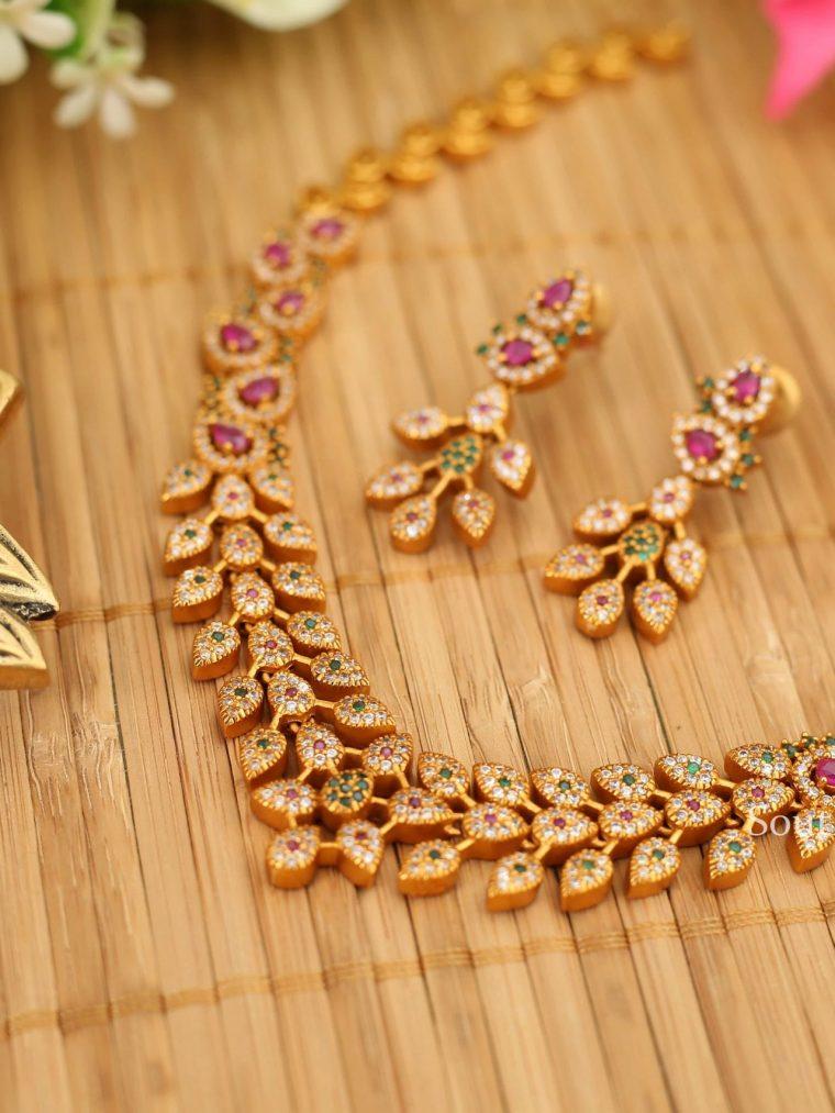Stunning Matte Finish AD Stone Necklace