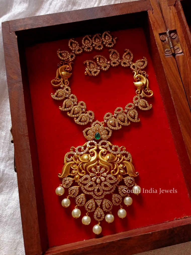Stunning Peacock AD Stone Necklace