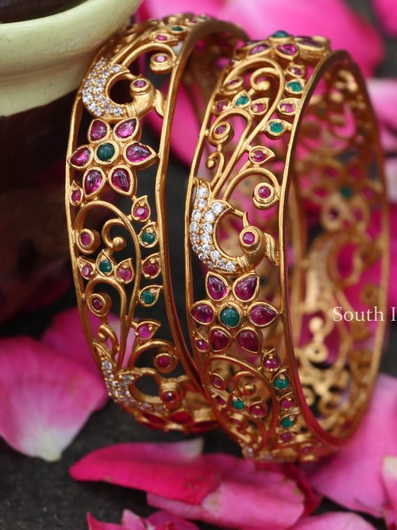 Stunning Peacock Design Floral Bangles