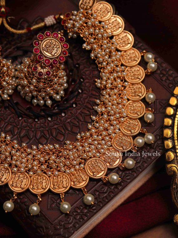 Stunning Ram Parivar Pearl Coin Necklace