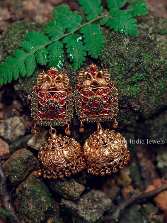 Traditional Dual Peacock Jhumka