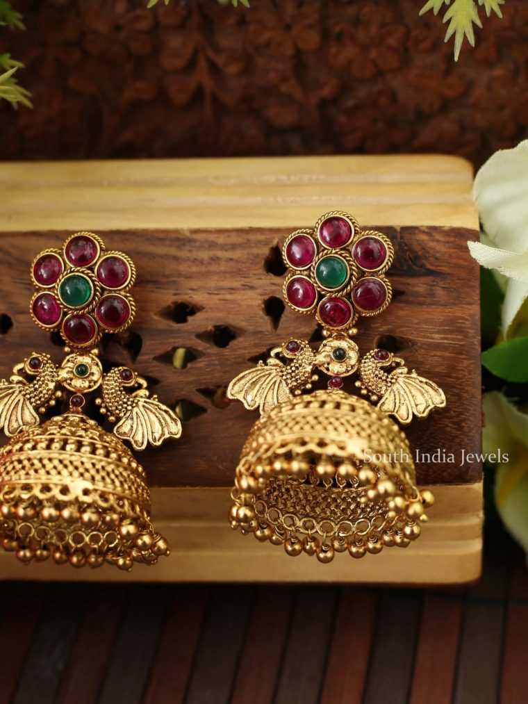 Traditional Dual Peacock Kemp Jhumka