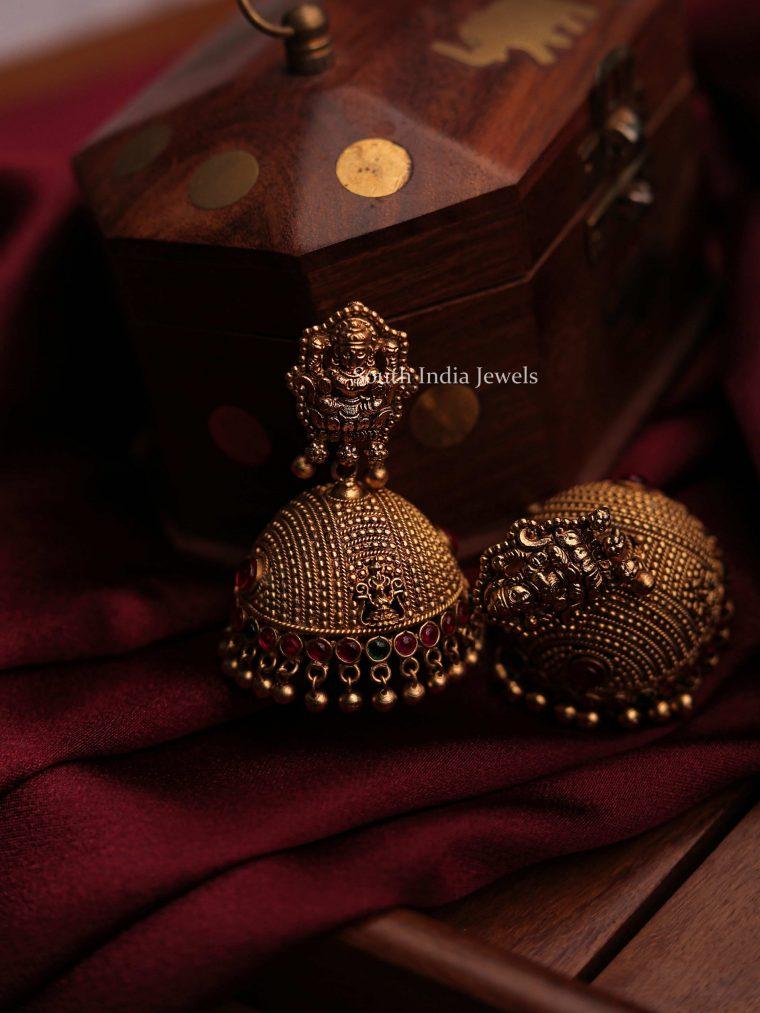 Traditional Golden Beads Lakshmi Jhumka