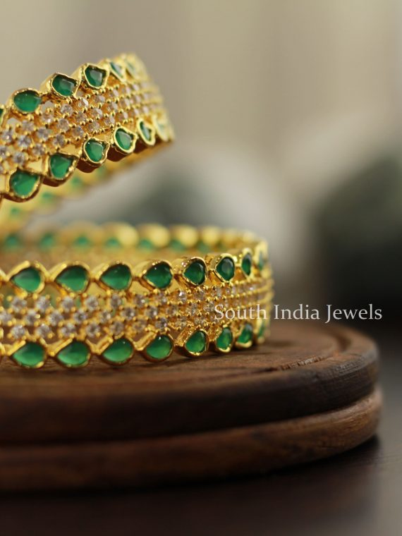 Traditional Green & White Stone Bangles