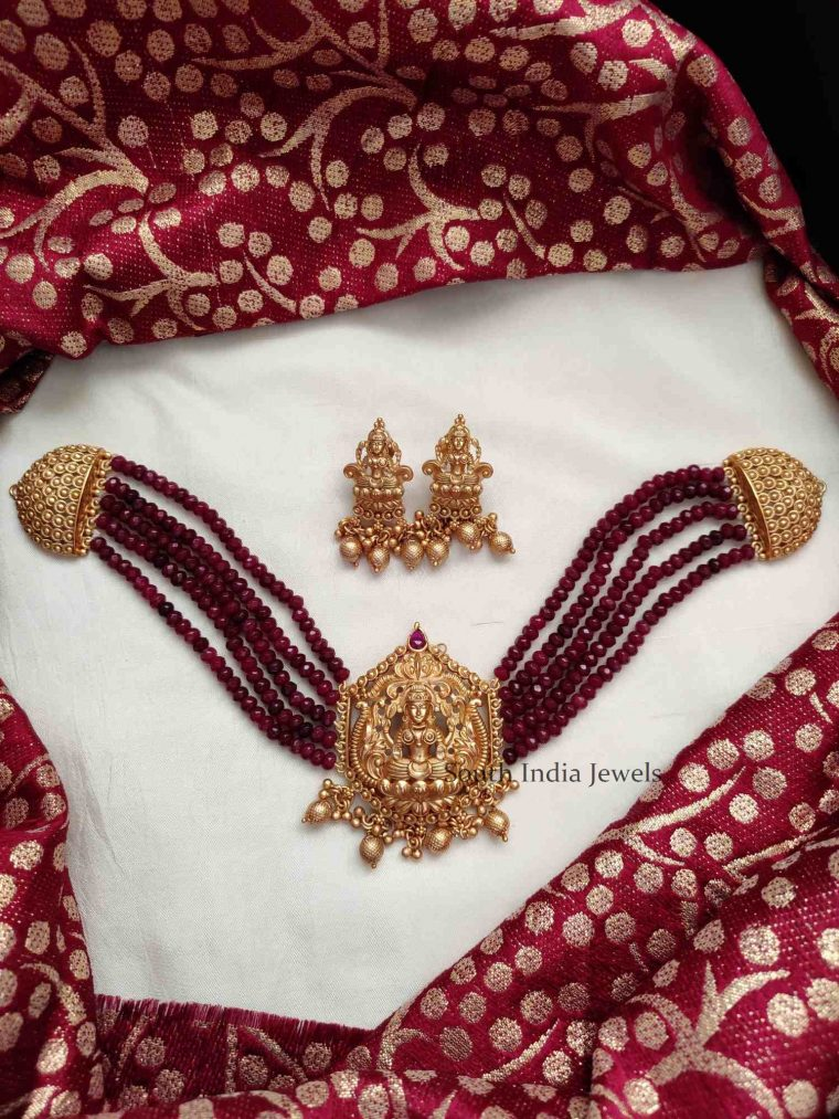 Traditional Maroon Beads Choker Set
