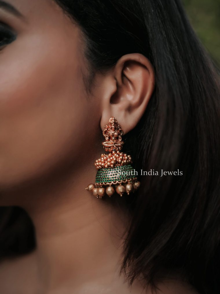 Traditional Matte Finish Temple Jhumka-04